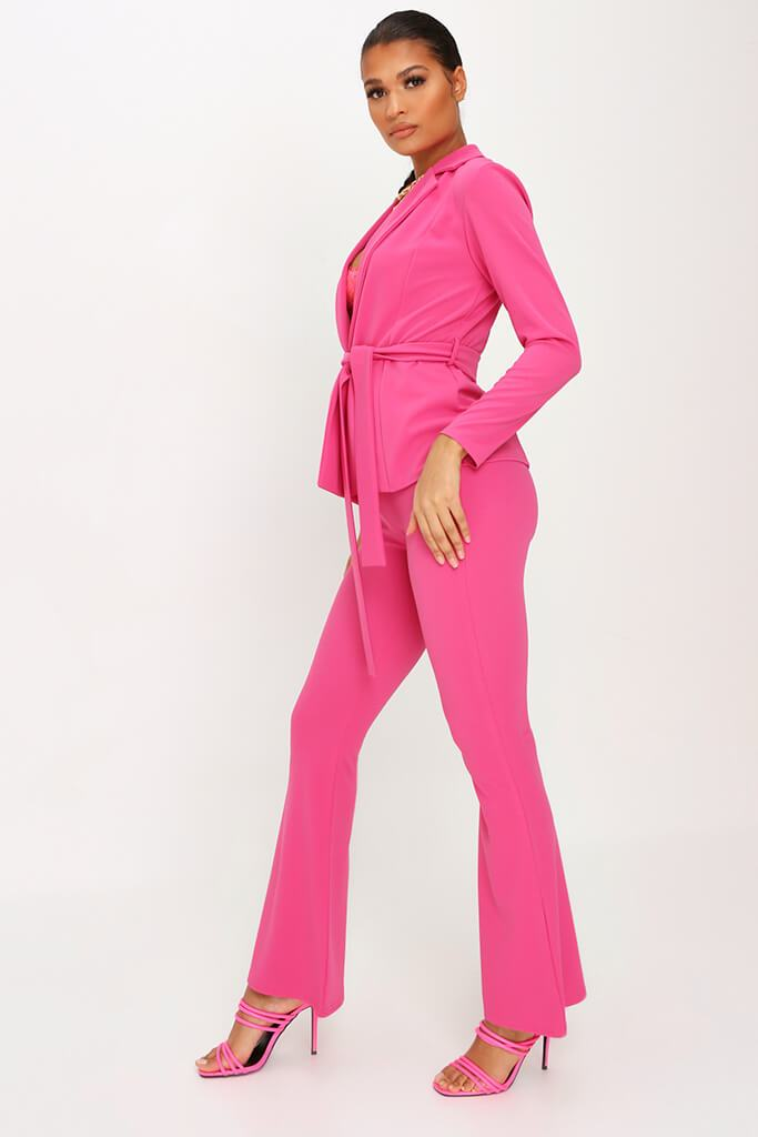 Pink Scuba Flare Trousers Co-Ord view 3