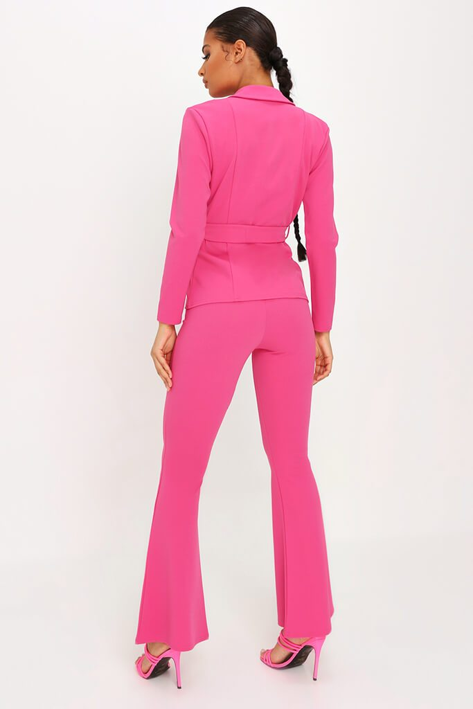 Pink Scuba Flare Trousers Co-Ord view 5