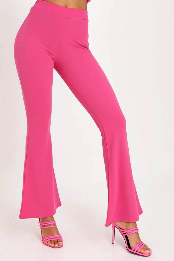 Pink Scuba Flare Trousers Co-Ord