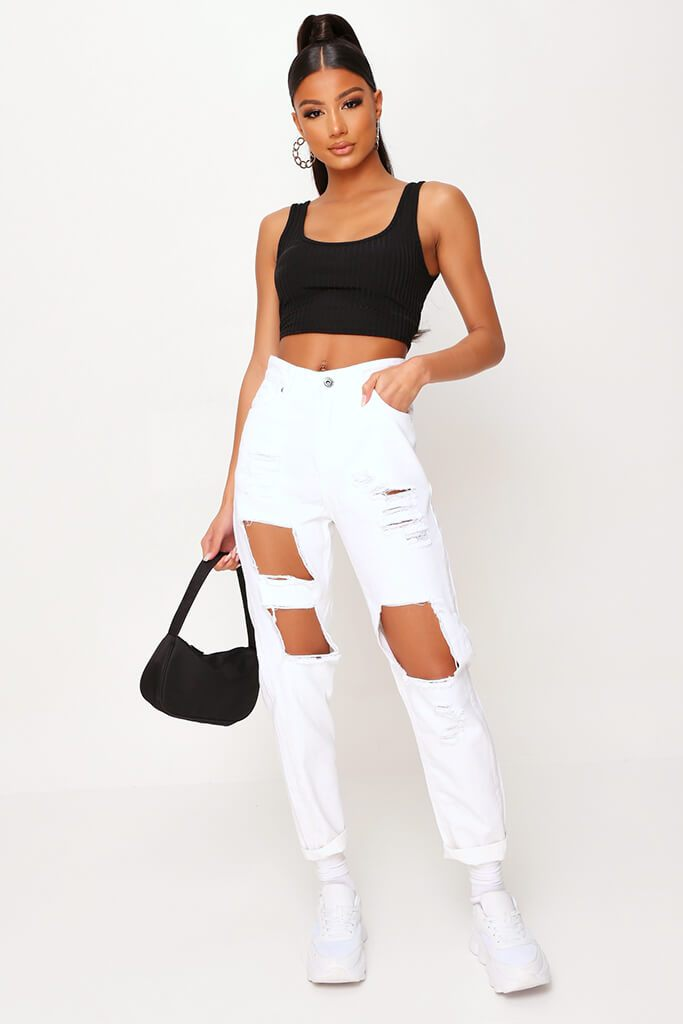 White Extreme Distressed Mom Jeans