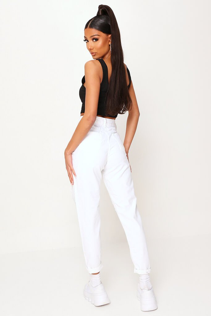 White Extreme Distressed Mom Jeans view 5