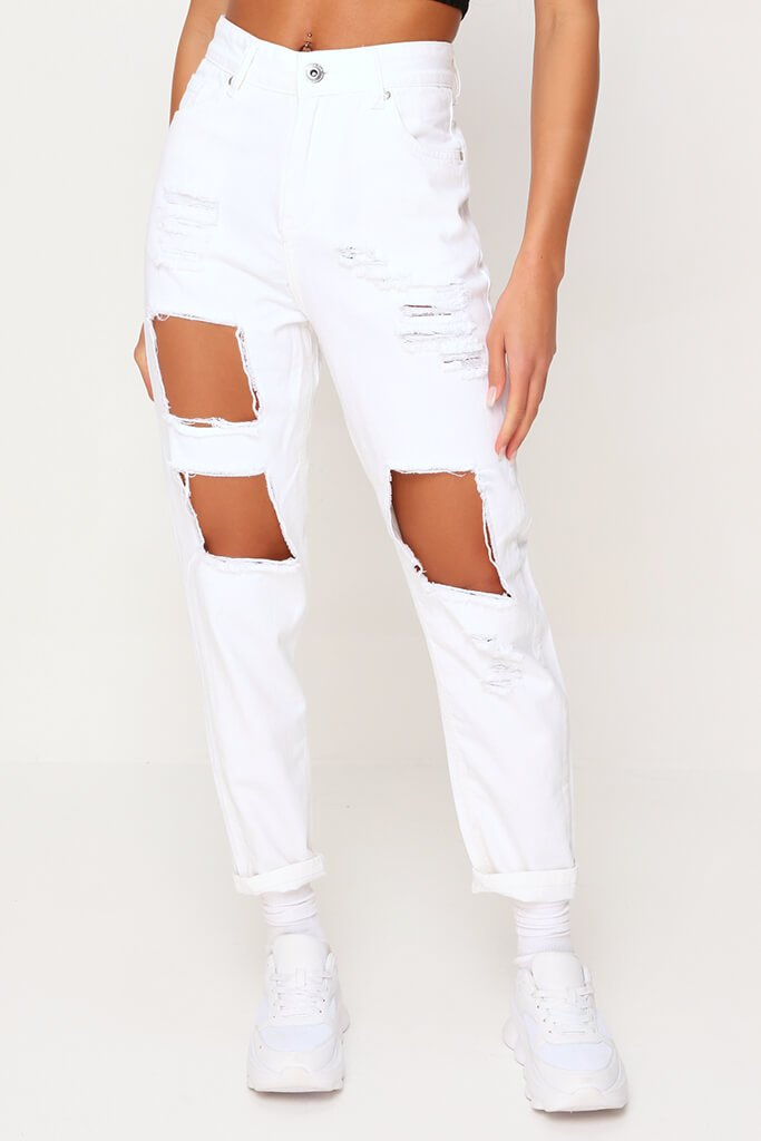 White Extreme Distressed Mom Jeans view 3
