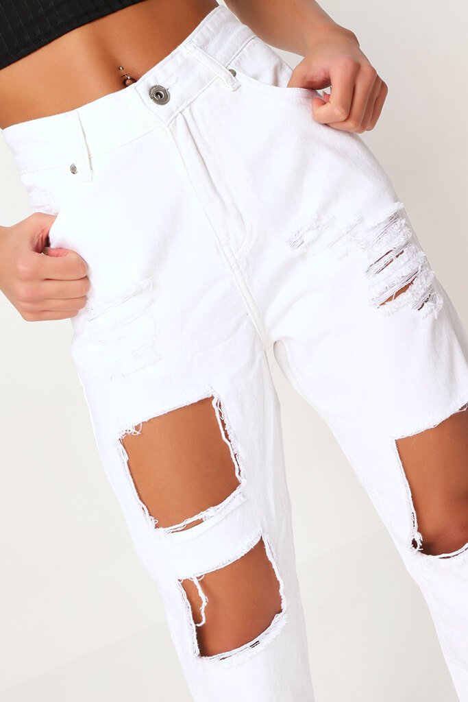 White Extreme Distressed Mom Jeans view 4