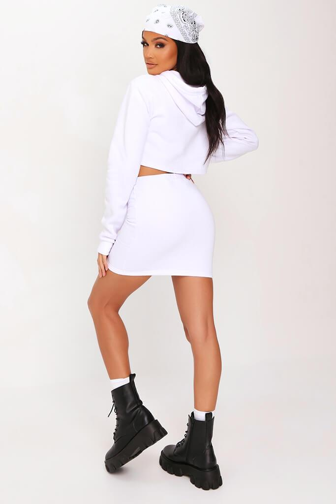 White Sweat Drawstring Waist Mini Skirt view 5