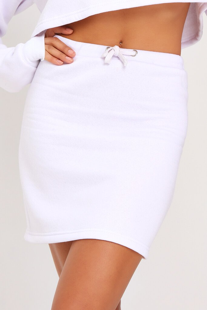 White Sweat Drawstring Waist Mini Skirt view 4