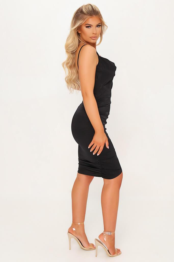 Black Stretch Satin Ruched Side Bodycon Dress view 3
