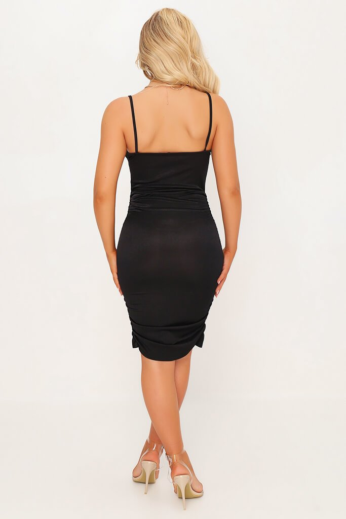Black Stretch Satin Ruched Side Bodycon Dress view 5