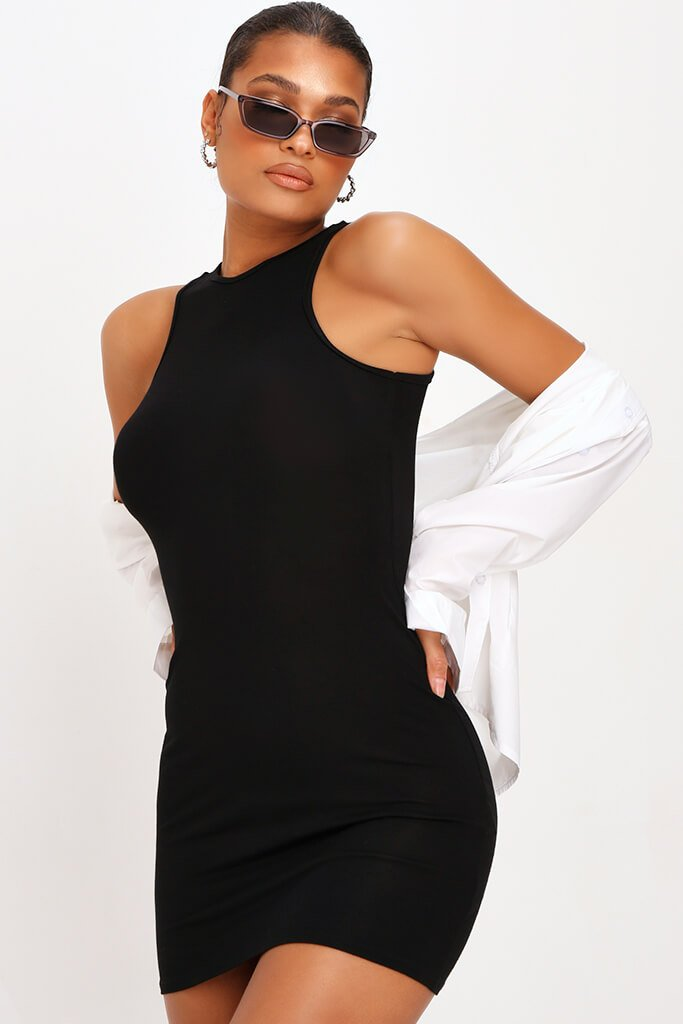 Black Basic Jersey Racer Neck Bodycon Dress