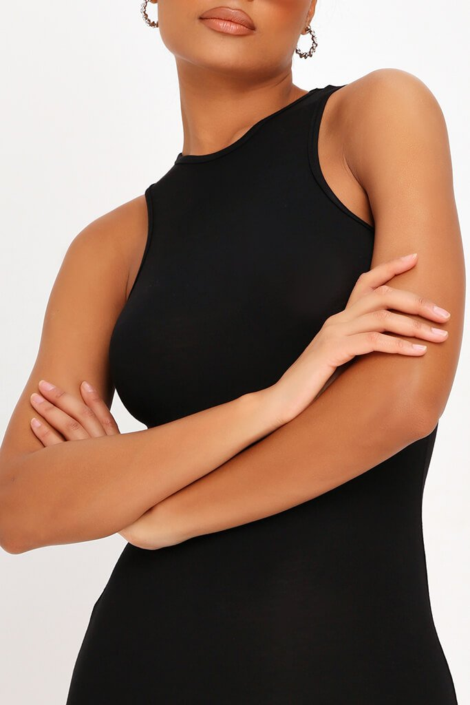Black Basic Jersey Racer Neck Bodycon Dress view 4
