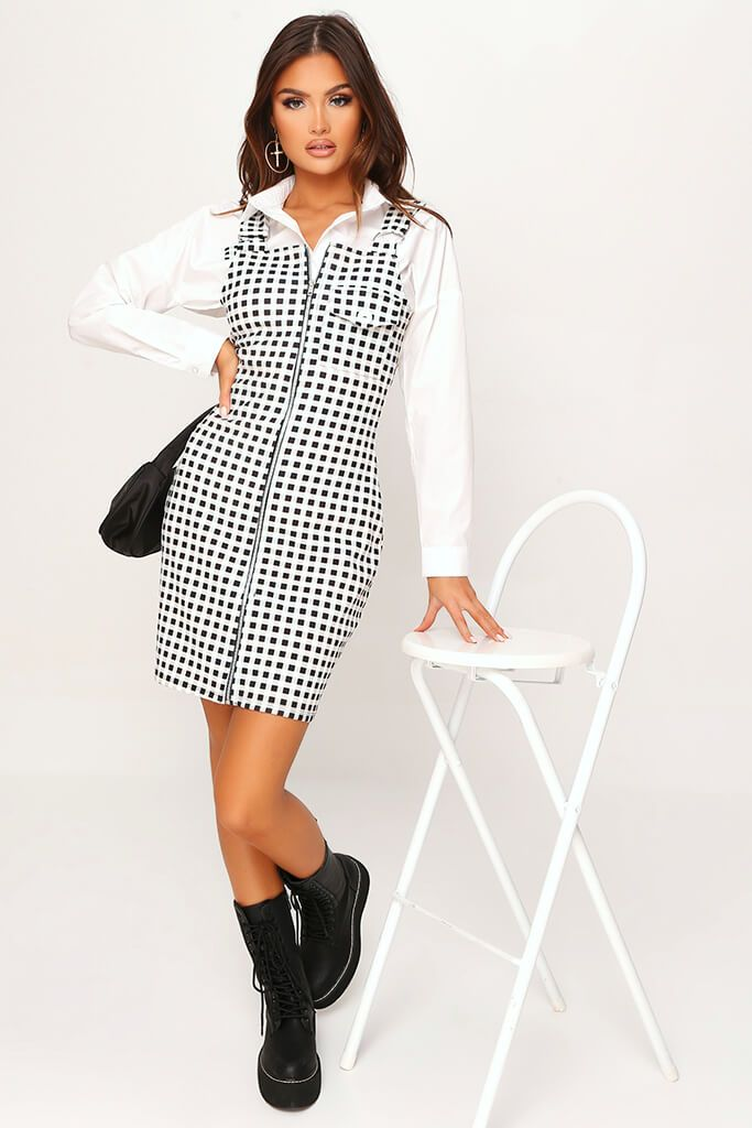 Cream Crepe Check Zip Front Ring Detail Pinafore Dress view 2
