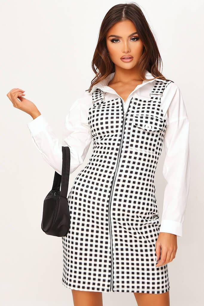 Cream Crepe Check Zip Front Ring Detail Pinafore Dress