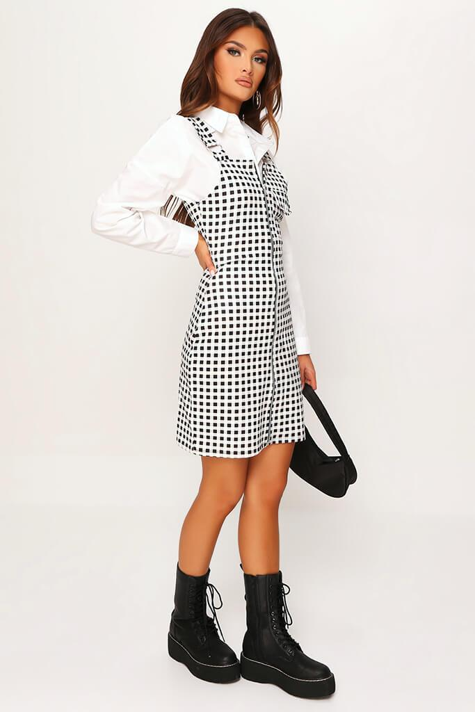 Cream Crepe Check Zip Front Ring Detail Pinafore Dress view 3
