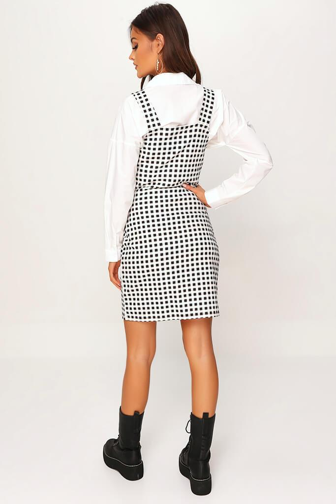 Cream Crepe Check Zip Front Ring Detail Pinafore Dress view 5