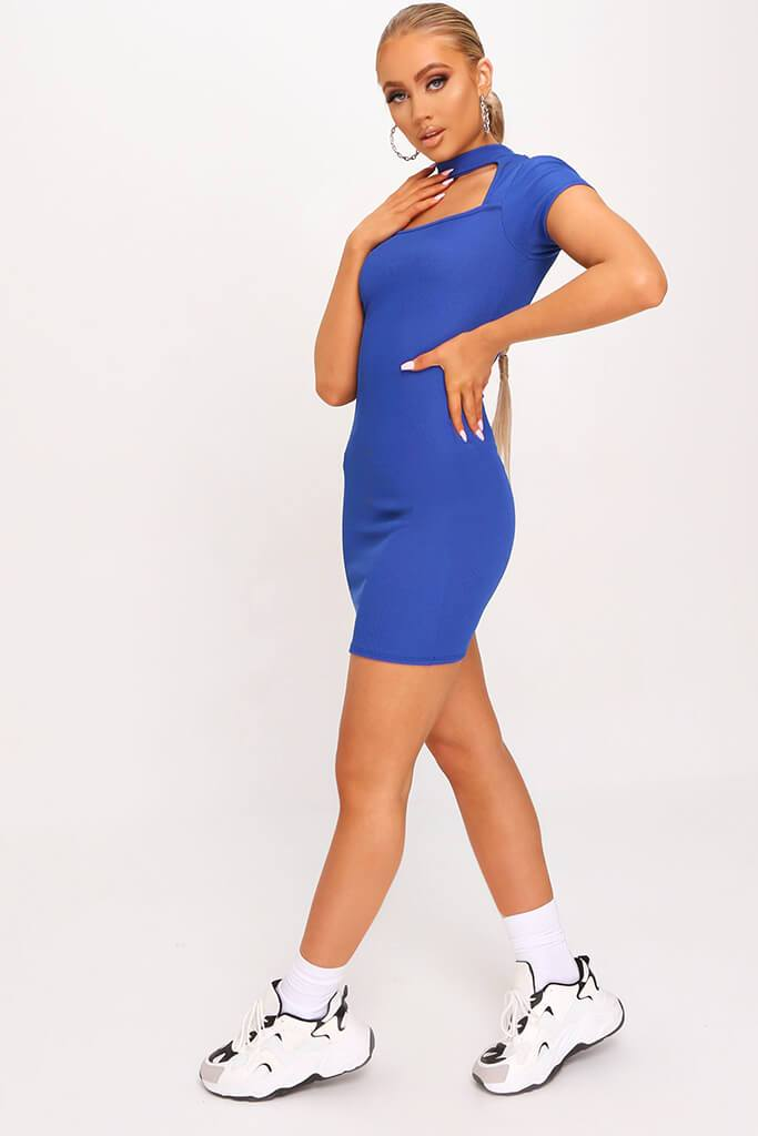 Cobalt Blue Ribbed Cut Out Cap Sleeve Bodycon Dress view 3
