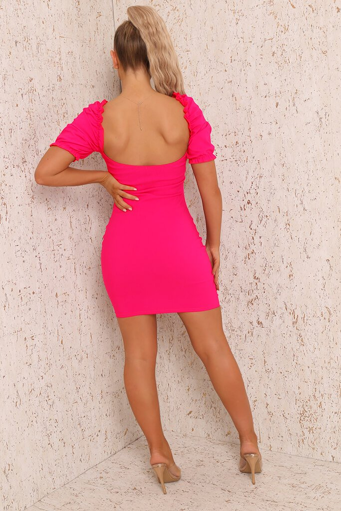 Fuchsia Bengaline Bardot Puff Sleeve Bodycon Dress view 5