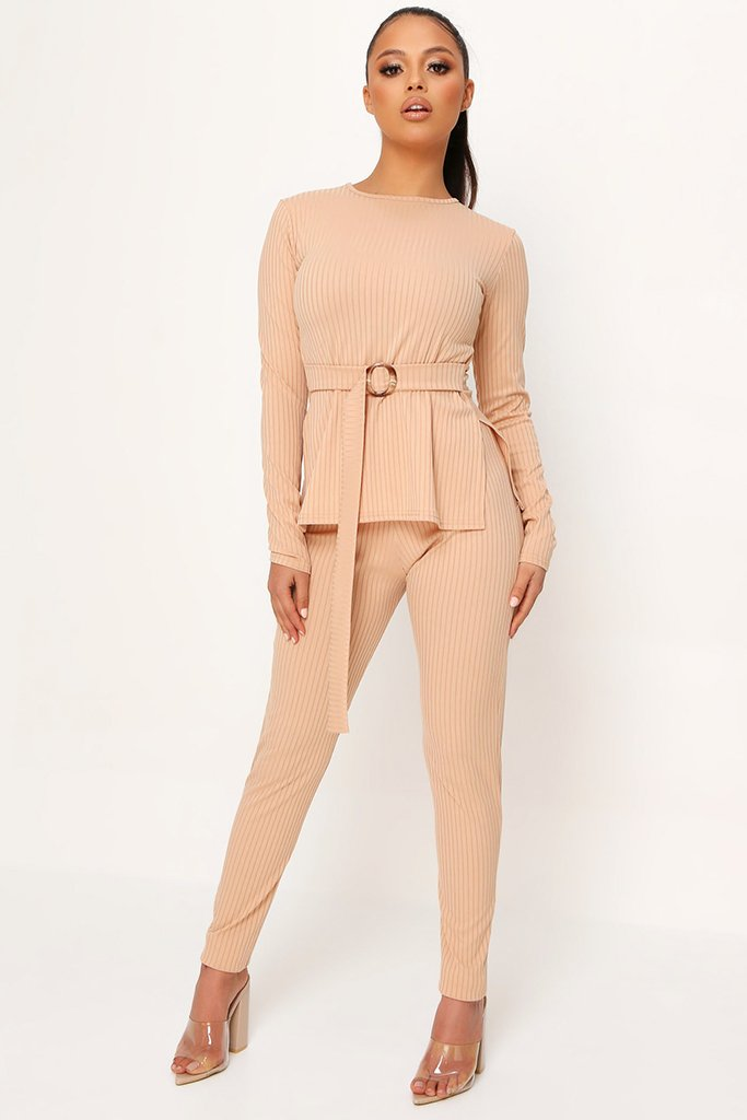 Stone Belted Long Sleeve Top And Trousers