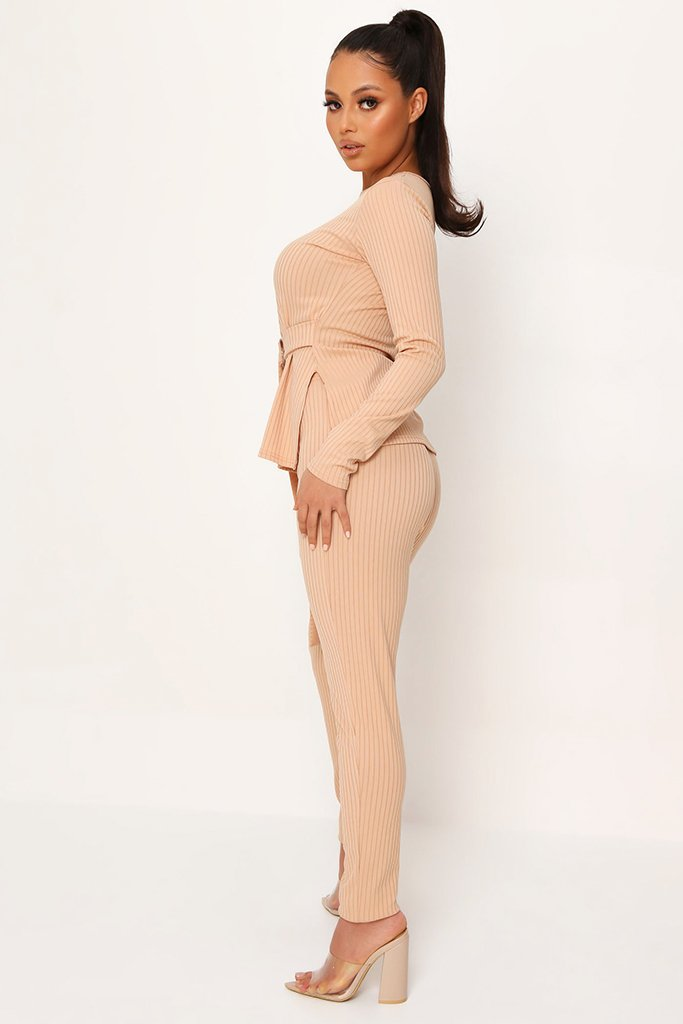 Stone Belted Long Sleeve Top And Trousers view 3