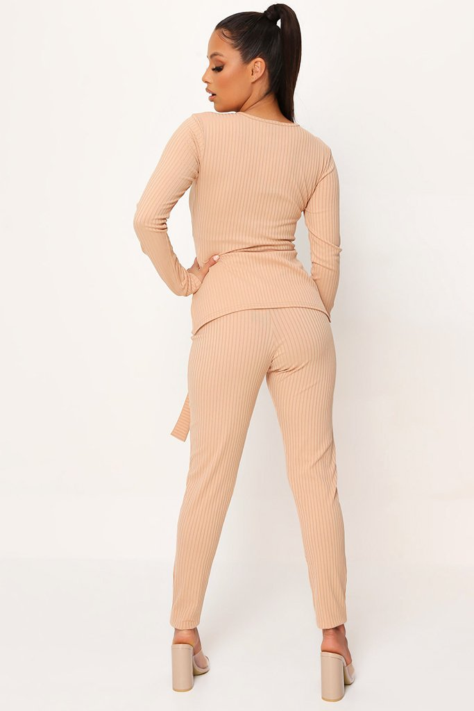 Stone Belted Long Sleeve Top And Trousers view 5