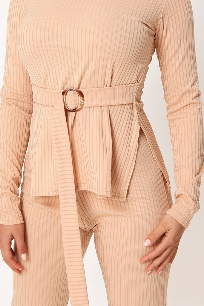 Stone Belted Long Sleeve Top And Trousers view 4