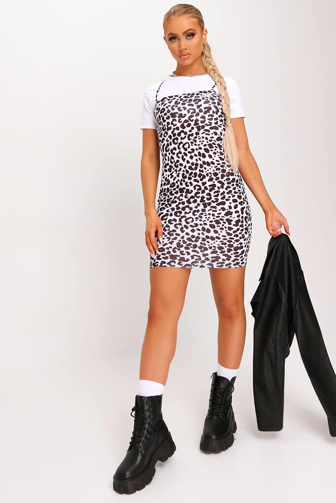White Jersey Leopard Print Square Neck Bodycon Dress view 2