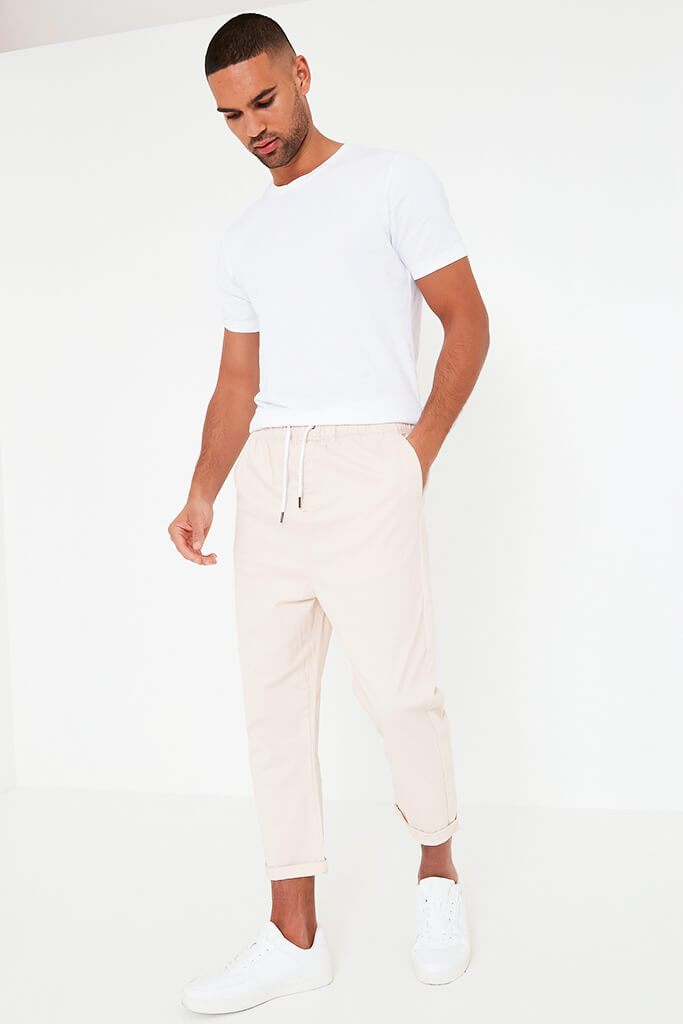 Pink Mens Loose Cropped Pull On Chino