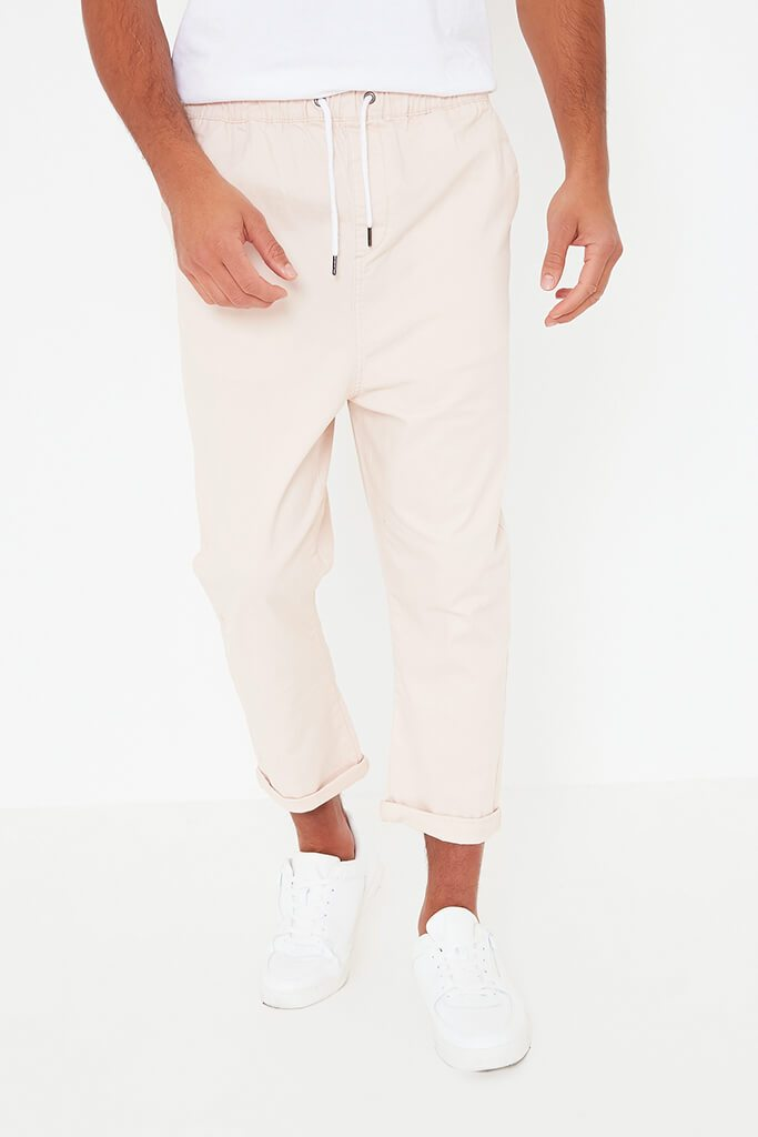 Pink Mens Loose Cropped Pull On Chino view 2
