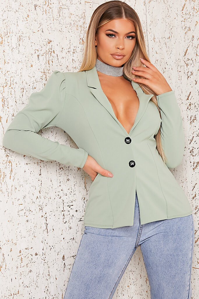 Sage Puff Sleeve Blazer view main view