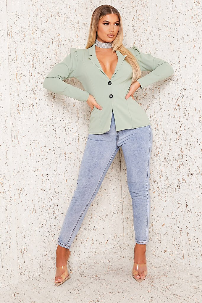 Sage Puff Sleeve Blazer view 2