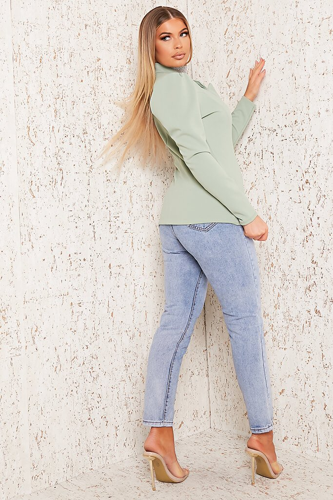 Sage Puff Sleeve Blazer view 3