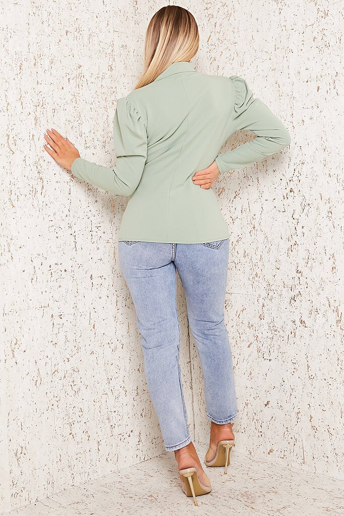 Sage Puff Sleeve Blazer view 5