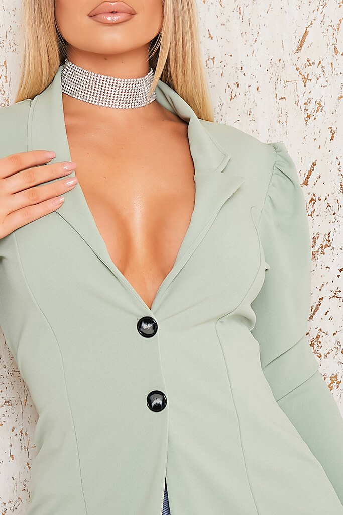 Sage Puff Sleeve Blazer view 4
