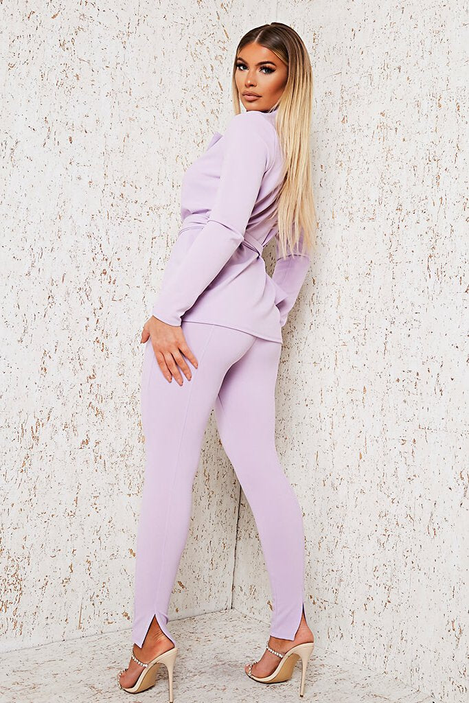 Lilac Skinny Split Back Trouser view main view