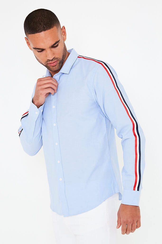 Blue Mens Side Tape Shirt