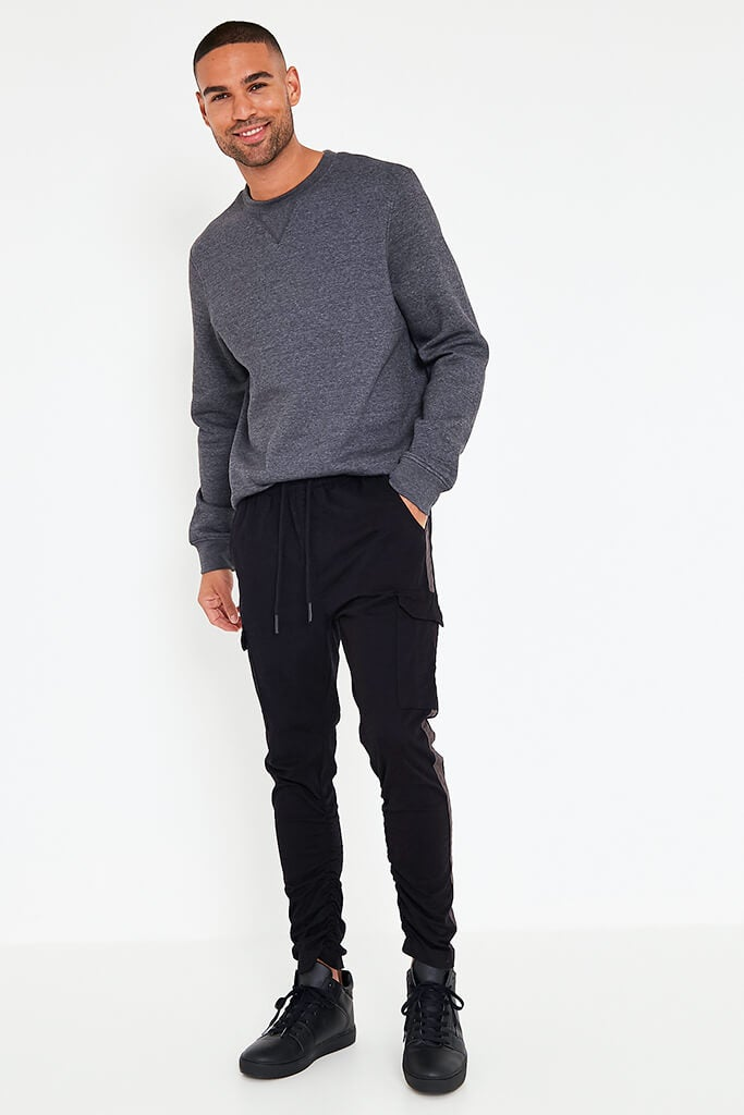 Black Mens Contrast Side Panel Jogger