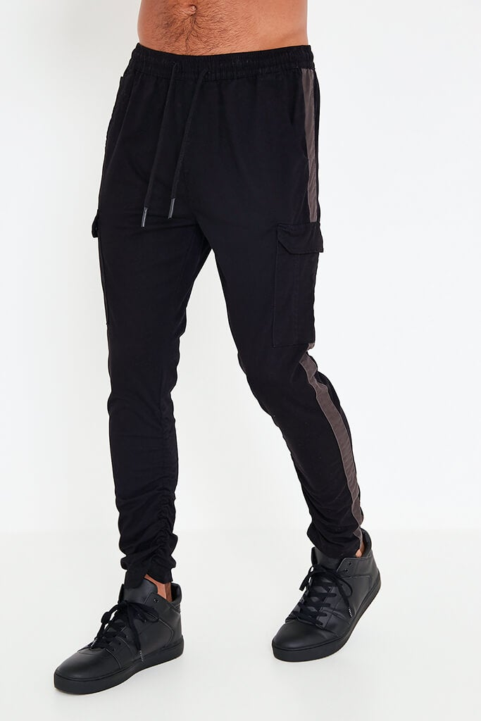 Black Mens Contrast Side Panel Jogger view 2