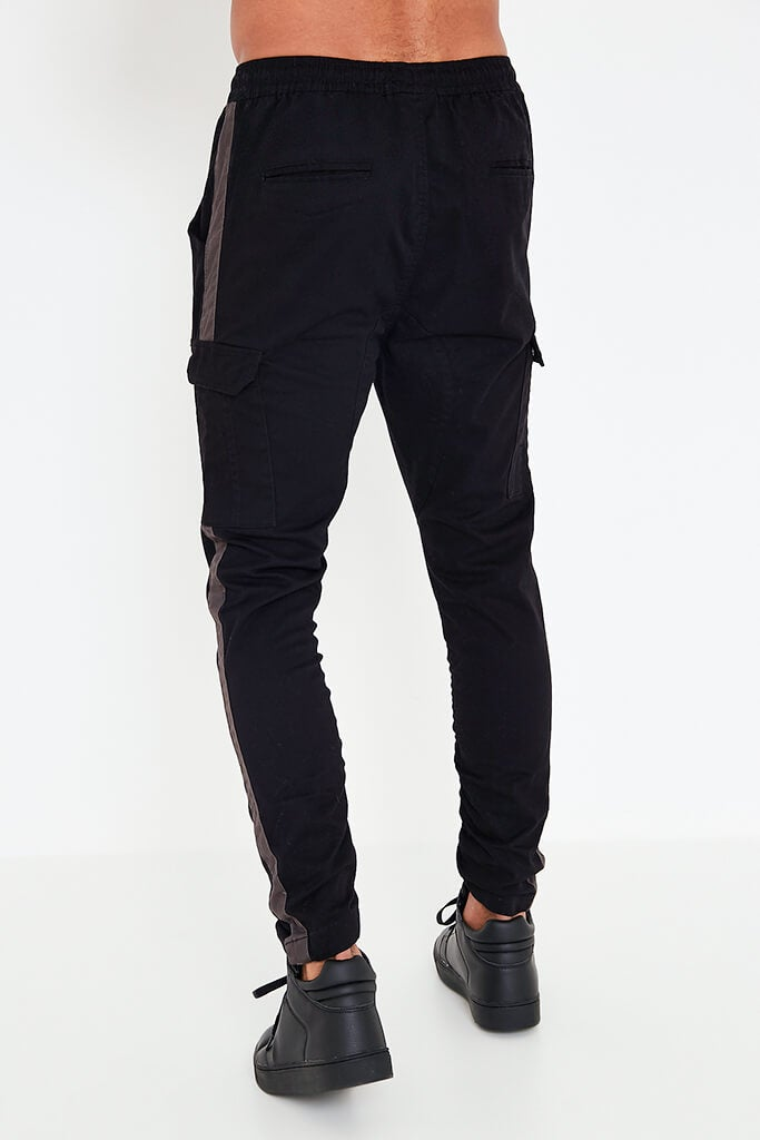 Black Mens Contrast Side Panel Jogger view 4