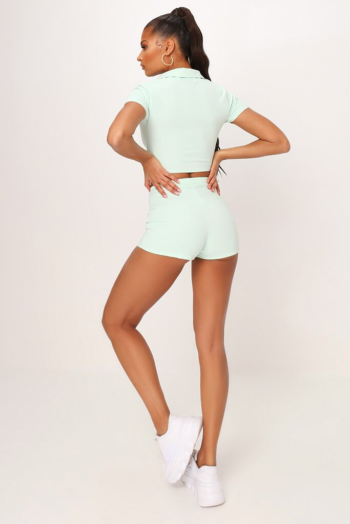 Mint Green Crepe Mini Shorts view 5