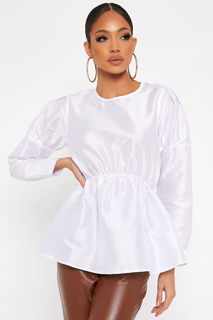 White Long Sleeve Puff Shoulder Elasticated Waist Blouse