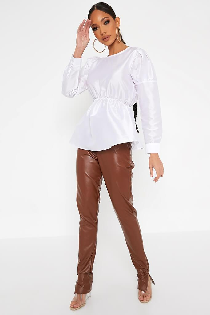 White Long Sleeve Puff Shoulder Elasticated Waist Blouse view 2