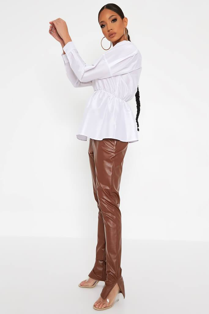 White Long Sleeve Puff Shoulder Elasticated Waist Blouse view 3