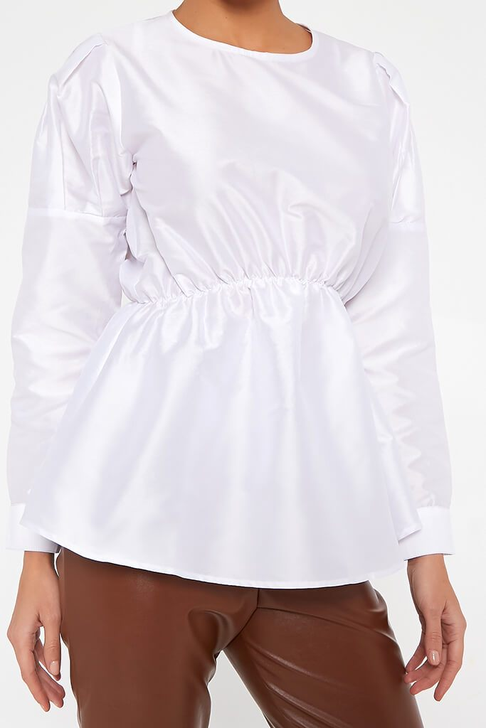 White Long Sleeve Puff Shoulder Elasticated Waist Blouse view 4