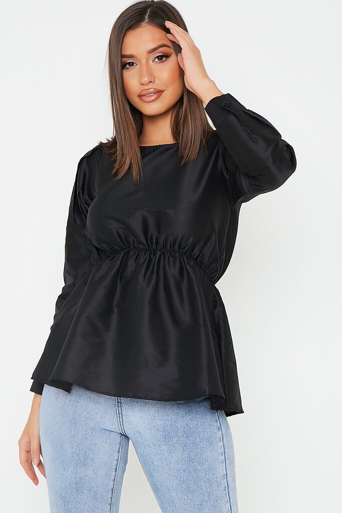 Black Long Sleeve Puff Shoulder Elasticated Waist Blouse