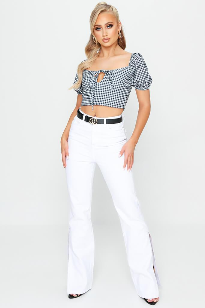 White Gingham Tie Front Milkmaid Crop Top view 2