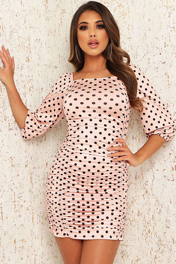 Baby Pink Slinky Polka Dot Ruched Puff Sleeve Bodycon Dress