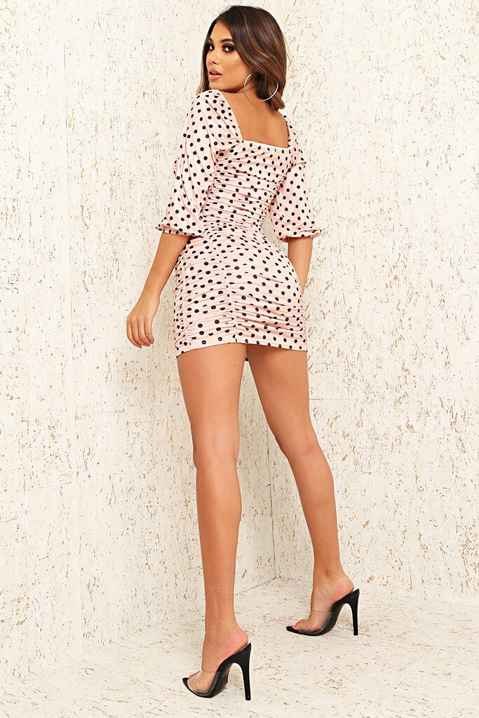 Baby Pink Slinky Polka Dot Ruched Puff Sleeve Bodycon Dress view 5