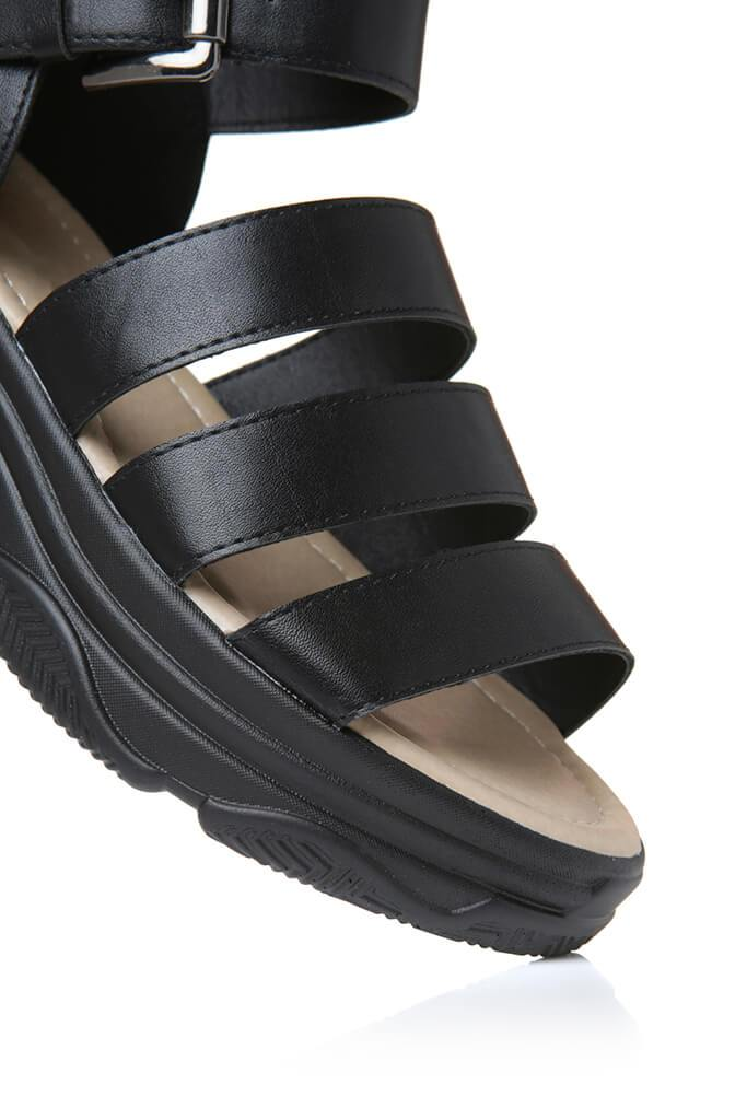 Black High Top Caged Sport Sandal view 2