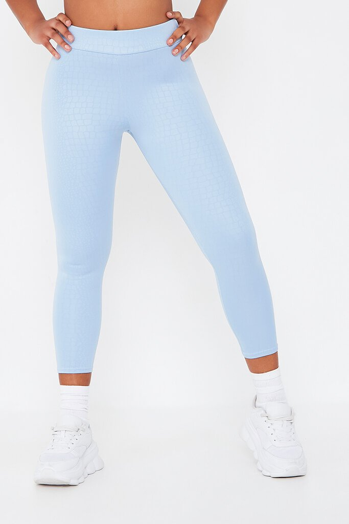 Sky Blue Coated Croc Legging view main view