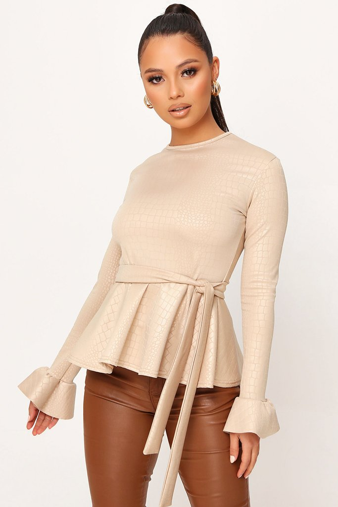 Nude Coated Croc Frill Hem Tie Waist Long Sleeve Blouse view main view