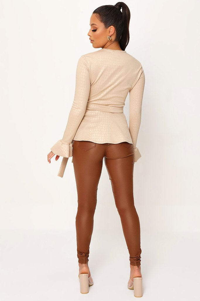 Nude Coated Croc Frill Hem Tie Waist Long Sleeve Blouse view 5