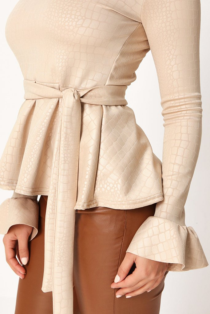 Nude Coated Croc Frill Hem Tie Waist Long Sleeve Blouse view 4